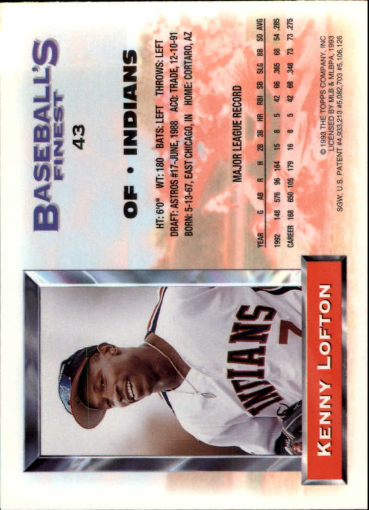 1993 Finest #43 Kenny Lofton back image