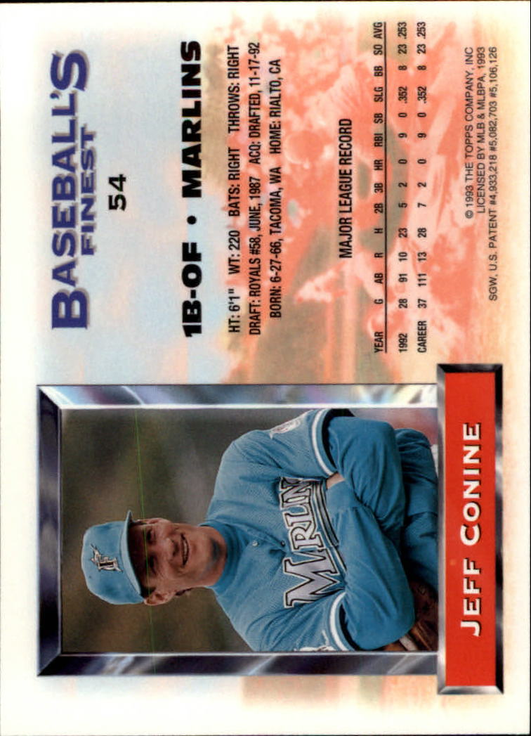1993 Finest #54 Jeff Conine back image