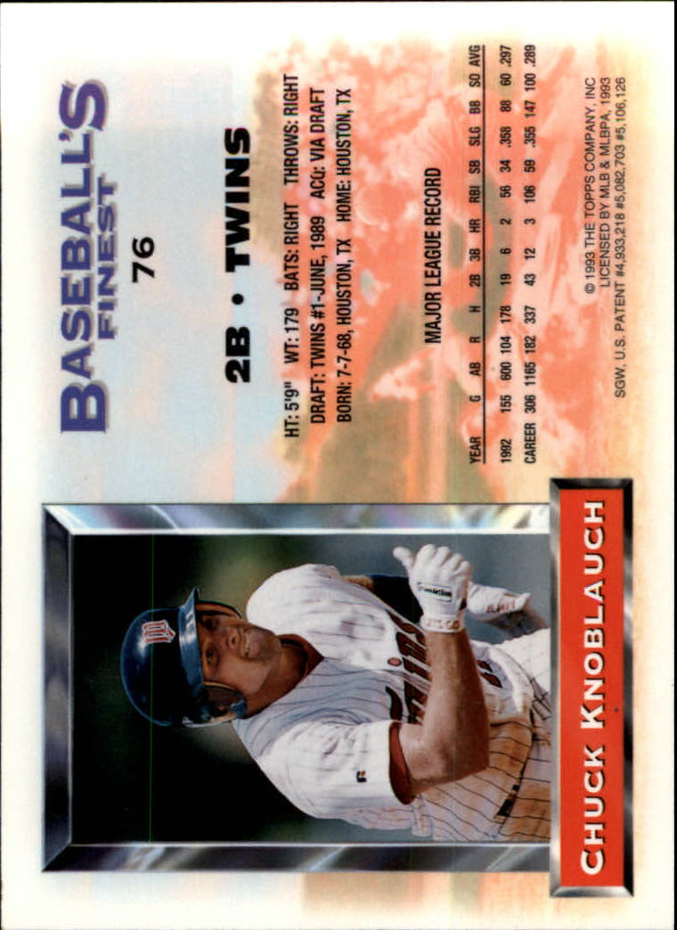 1993 Finest #76 Chuck Knoblauch back image