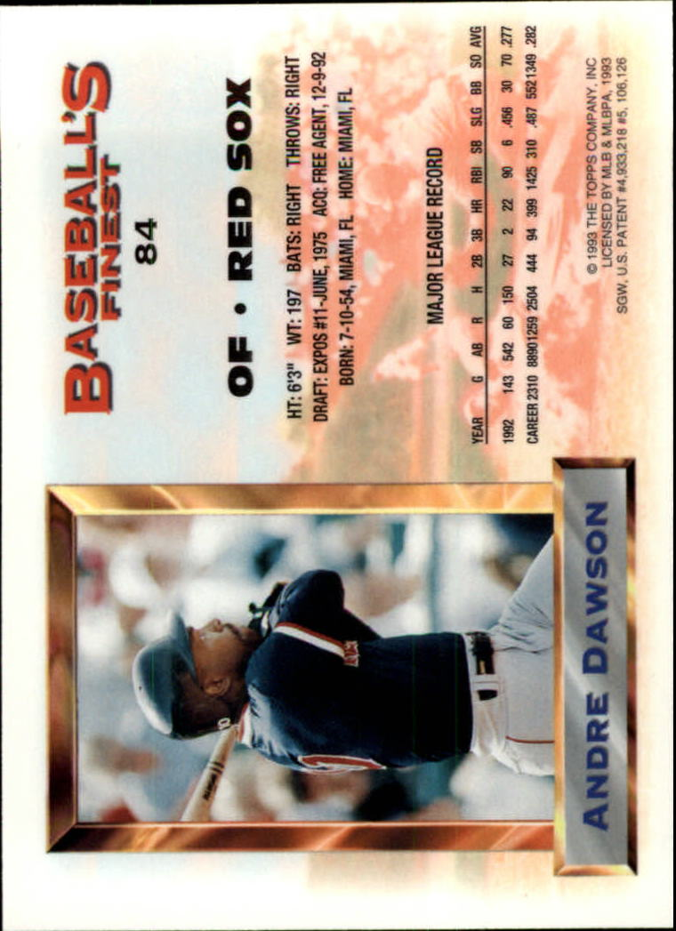 1993 Finest #84 Andre Dawson AS back image