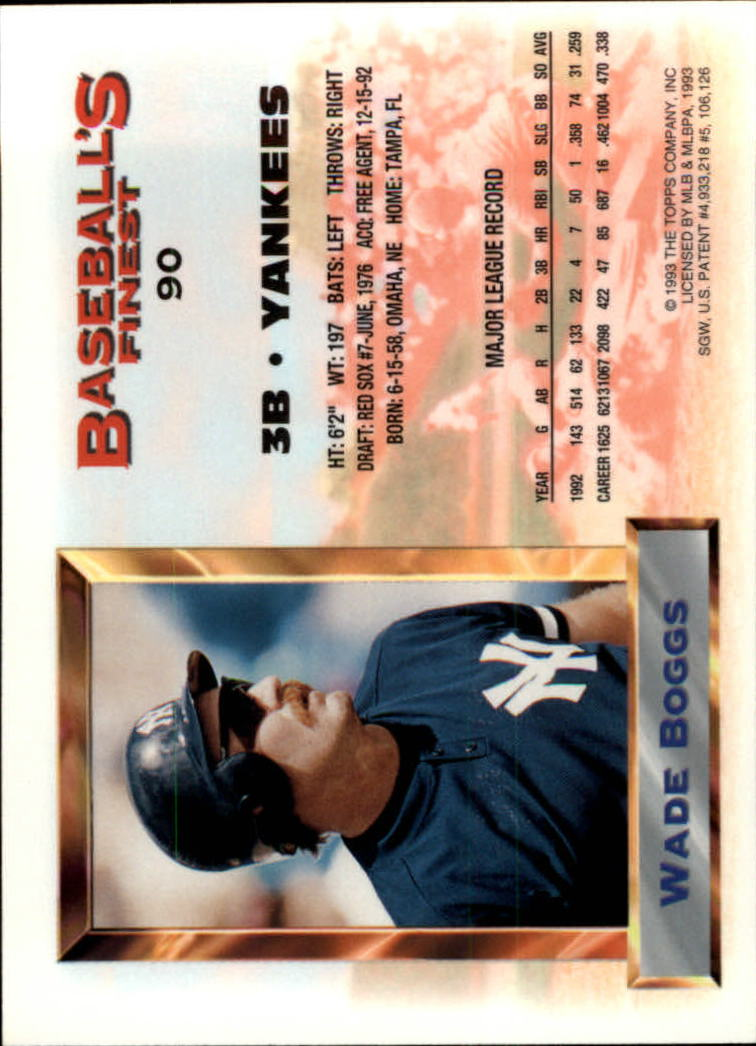 1993 Finest #90 Wade Boggs AS back image