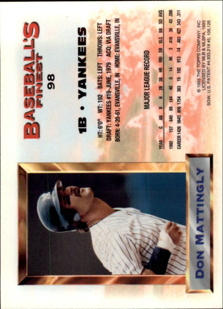 1993 Finest #98 Don Mattingly AS back image