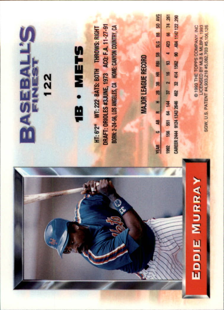 1993 Finest #122 Eddie Murray UER/122 career strikeouts/should be 1224 back image