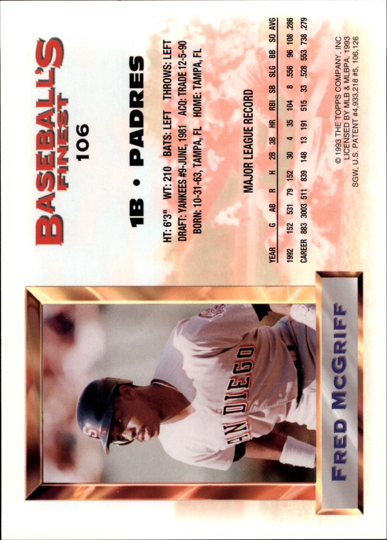 1993 Finest Jumbos #106 Fred McGriff back image
