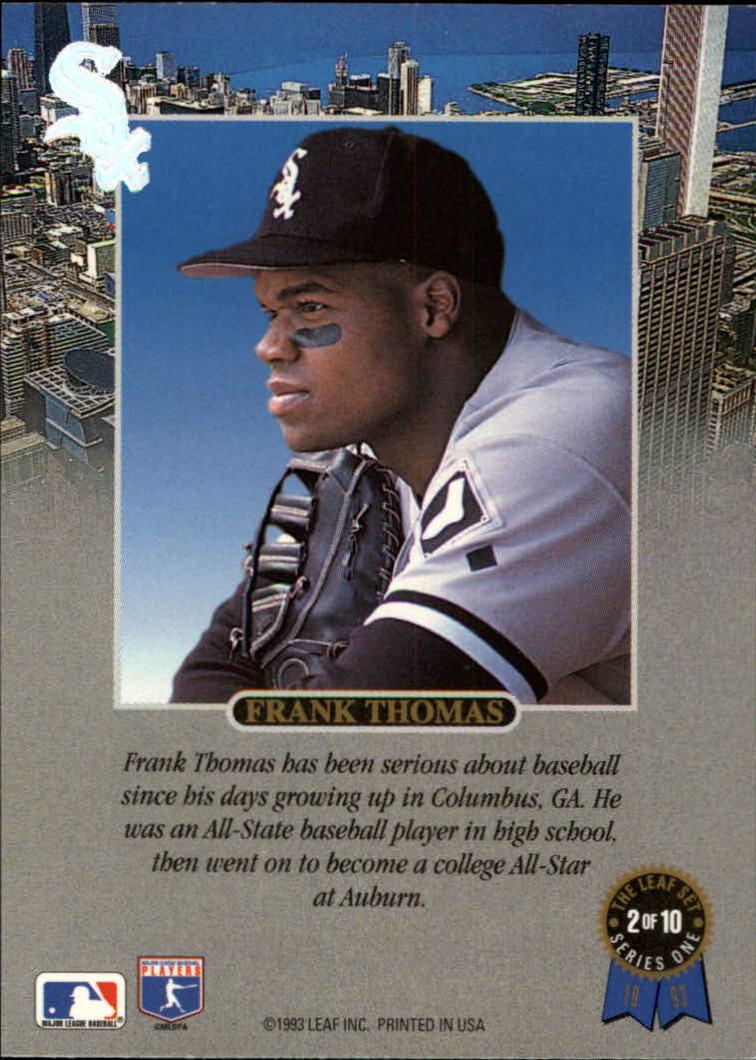 1993 Leaf Thomas #2 Frank Thomas/Serious back image