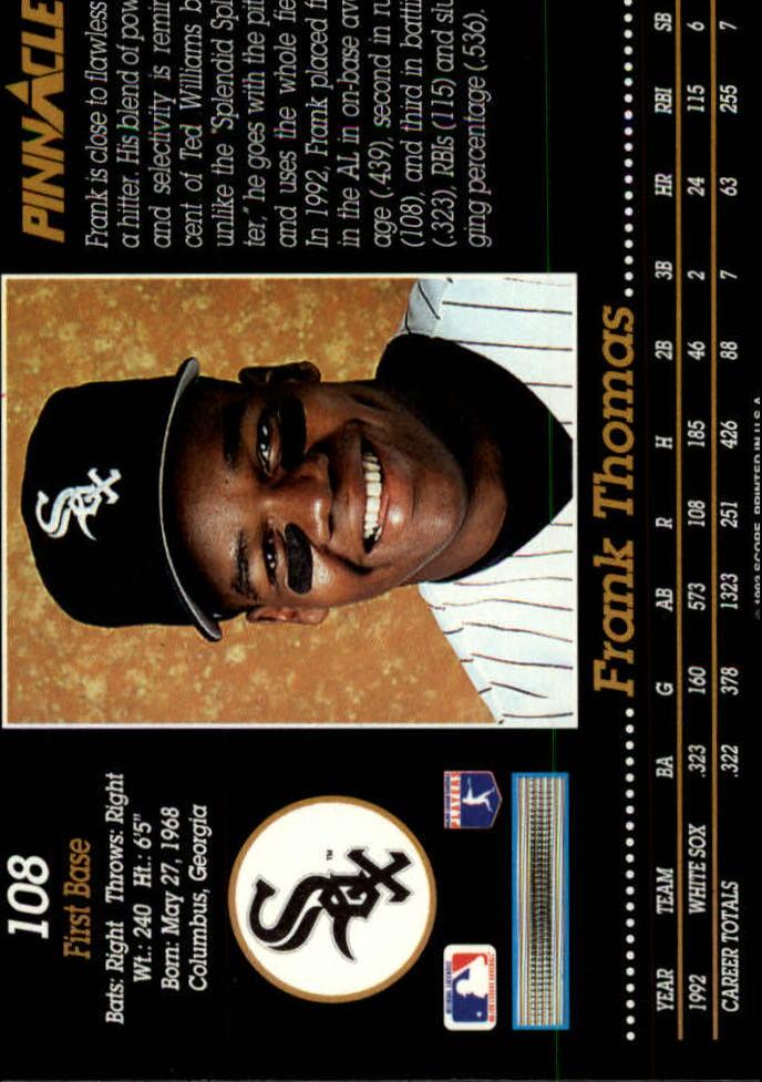 1993 Pinnacle #108 Frank Thomas back image
