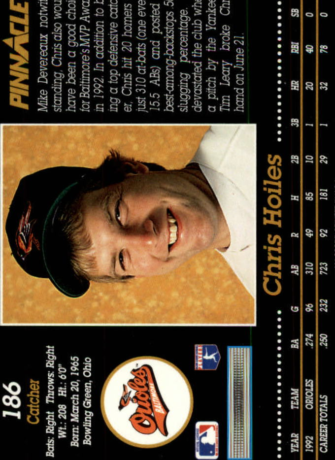 1993 Pinnacle #186 Chris Hoiles back image