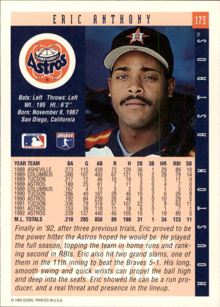 1993 Score #173 Eric Anthony back image