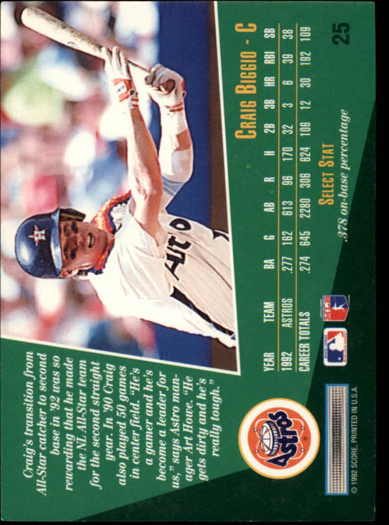 1993 Select #25 Craig Biggio back image
