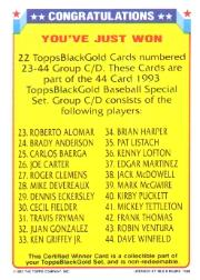 1993 Topps Black Gold #CD1 Winner CD 23-44 EXCH back image