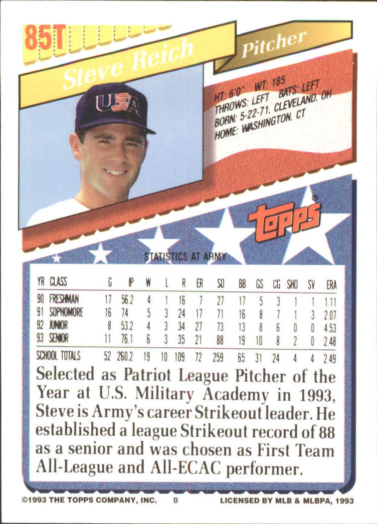1993 Topps Traded #85T Steve Reich USA RC back image