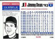 1993 Jimmy Dean #3 Cal Ripken back image