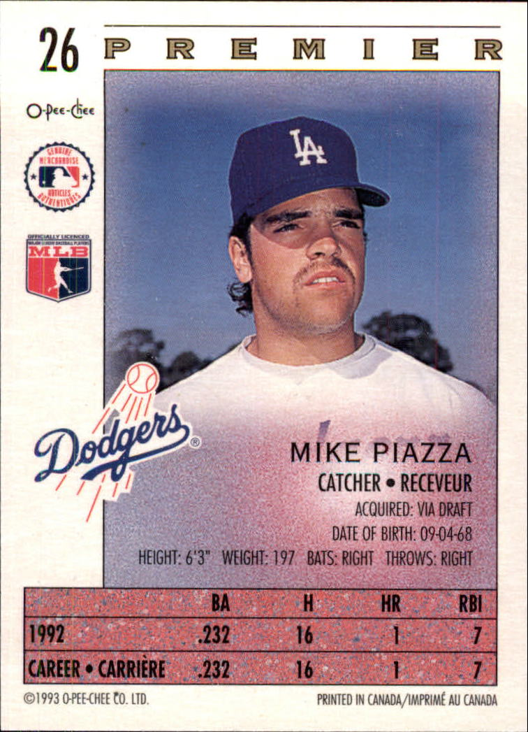 1993 O-Pee-Chee Premier #26 Mike Piazza back image