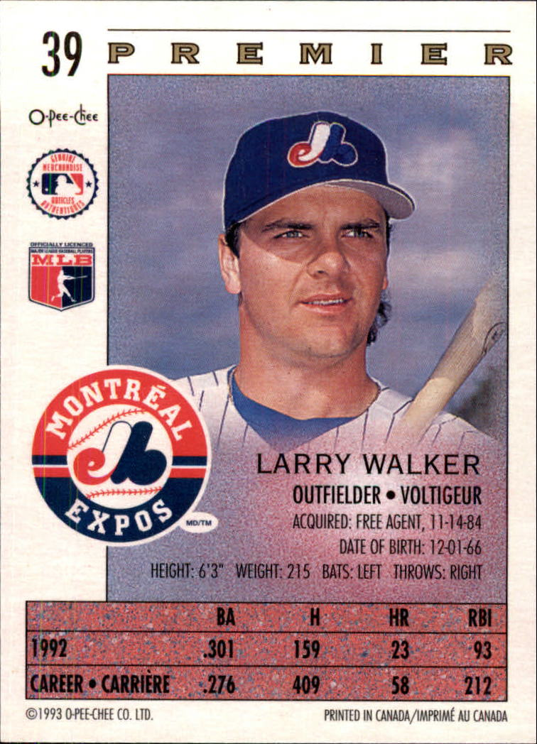 1993 O-Pee-Chee Premier #39 Larry Walker back image