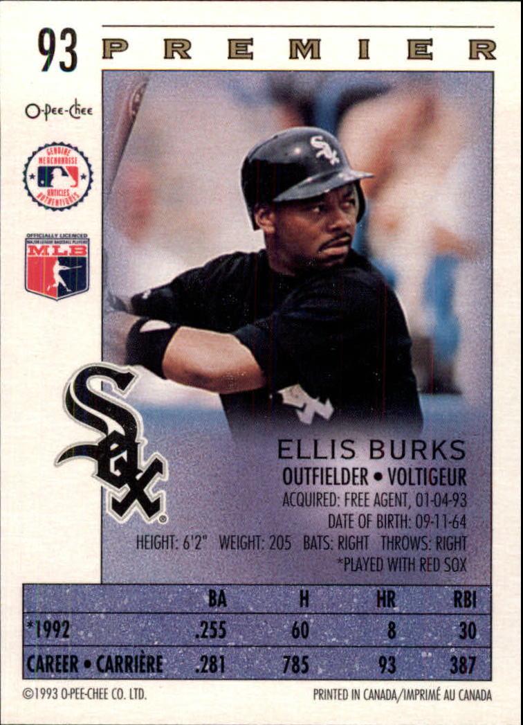 1993 O-Pee-Chee Premier #93 Ellis Burks back image