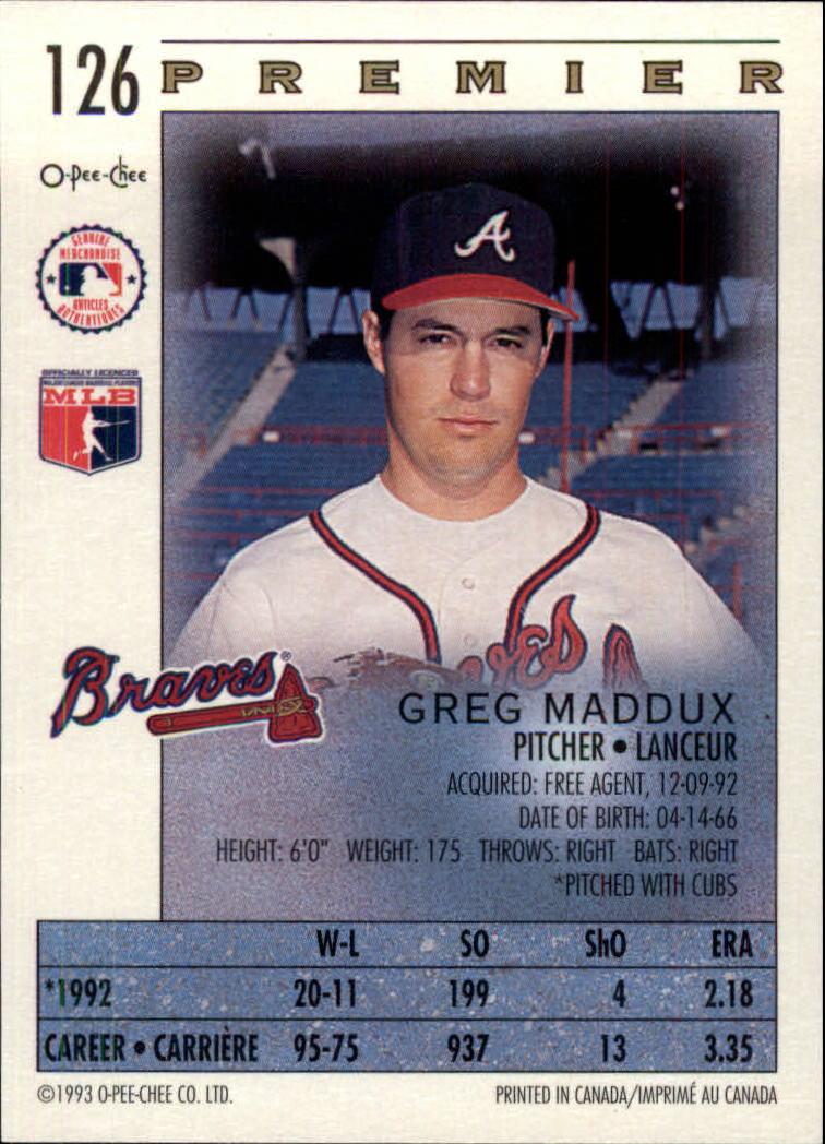 1993 O-Pee-Chee Premier #126 Greg Maddux back image