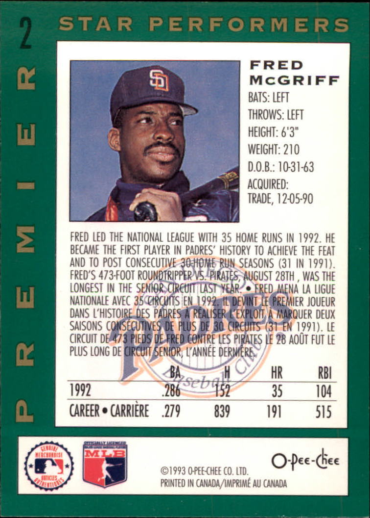 1993 O-Pee-Chee Premier Star Performers #2 Fred McGriff back image
