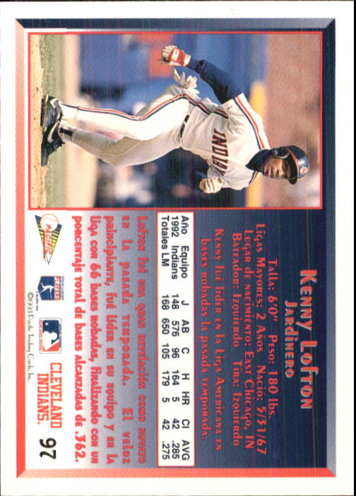 1993 Pacific Spanish #97 Kenny Lofton back image