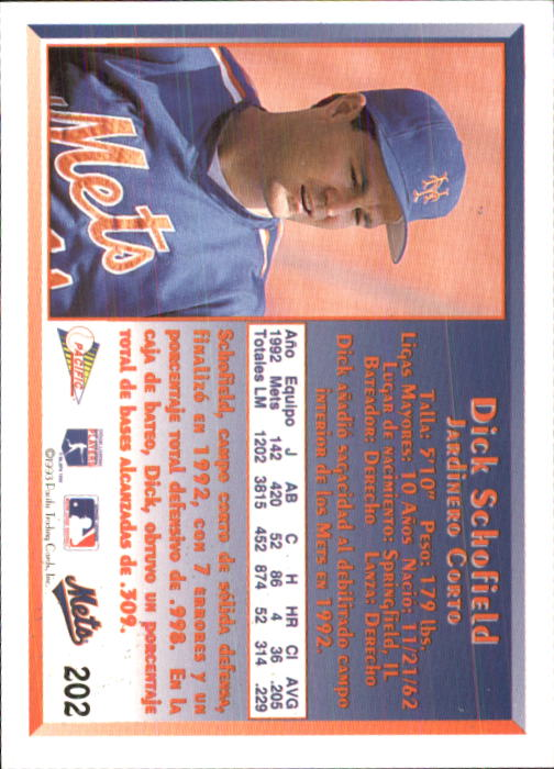 1993 Pacific Spanish #202 Dick Schofield back image