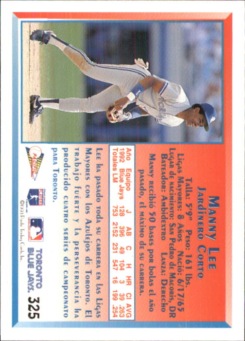 1993 Pacific Spanish #325 Manny Lee back image