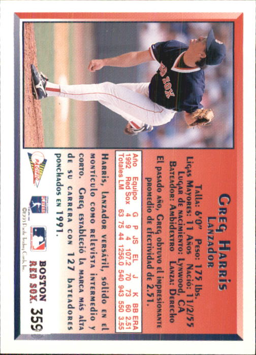1993 Pacific Spanish #359 Greg A. Harris back image