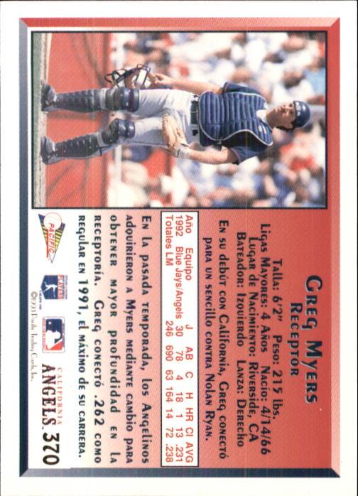 1993 Pacific Spanish #370 Greg Myers back image