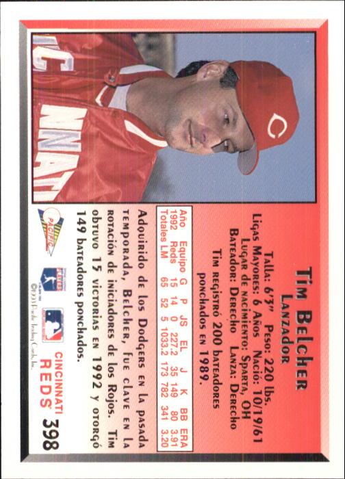 1993 Pacific Spanish #398 Tim Belcher back image