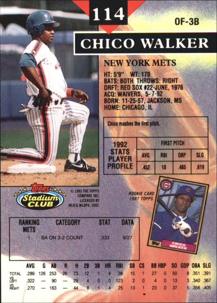 1993 Stadium Club Members Only Parallel #114 Chico Walker back image