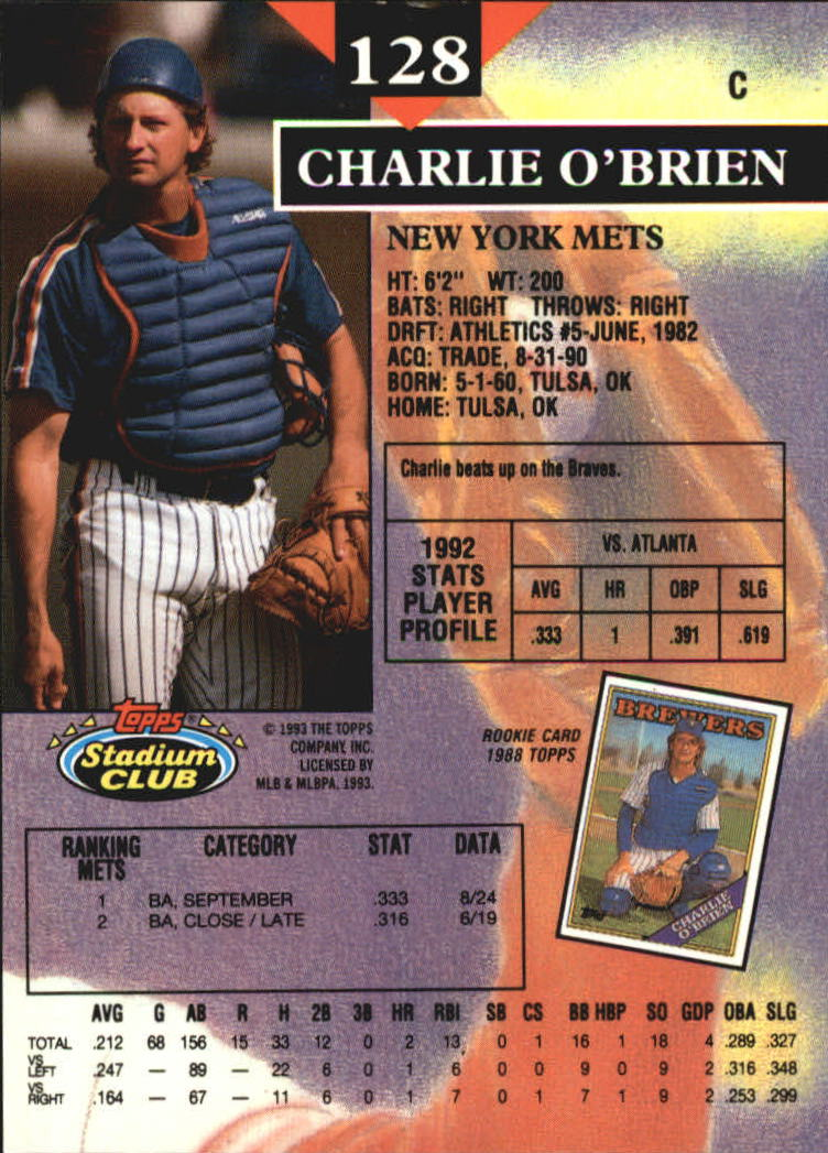 1993 Stadium Club Members Only Parallel #128 Charlie O'Brien back image