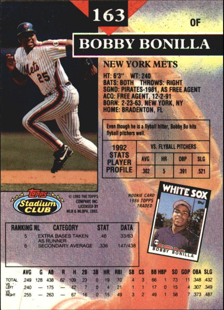 1993 Stadium Club Members Only Parallel #163 Bobby Bonilla back image
