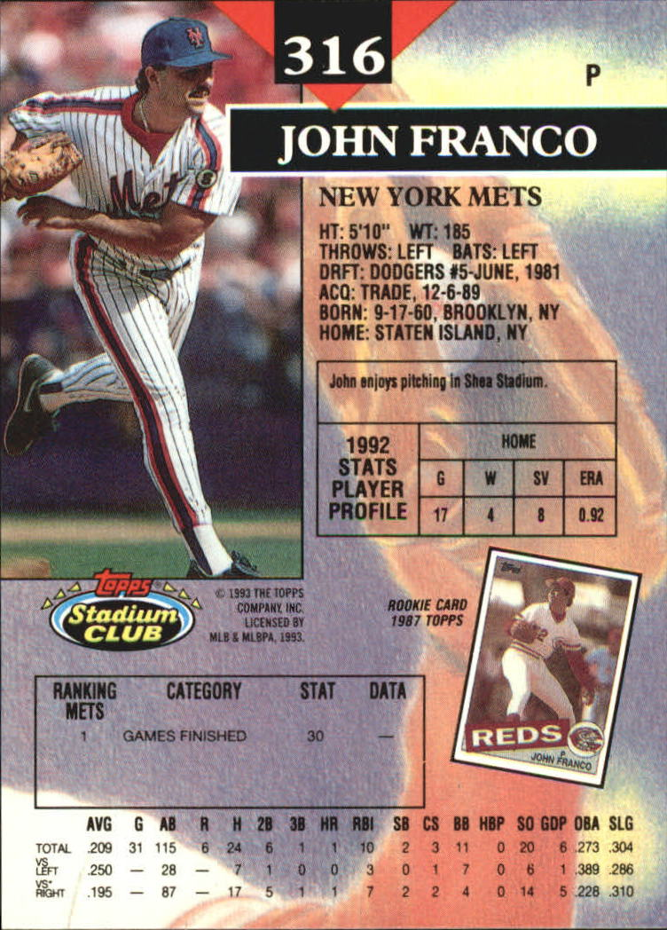 1993 Stadium Club Members Only Parallel #316 John Franco back image