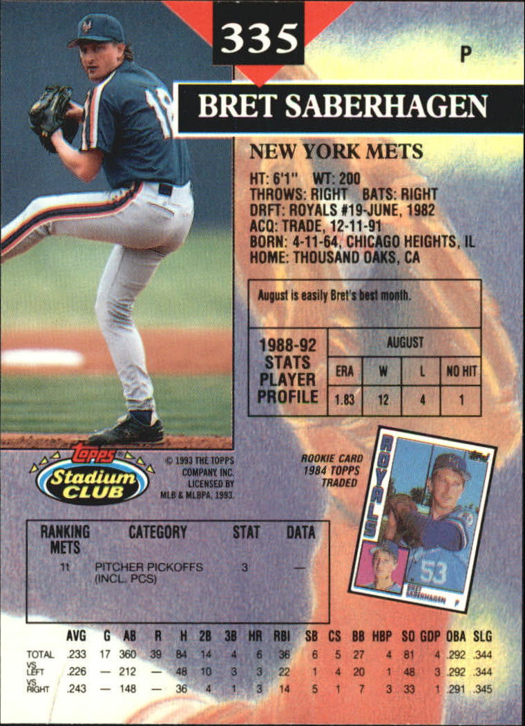 1993 Stadium Club Members Only Parallel #335 Bret Saberhagen back image