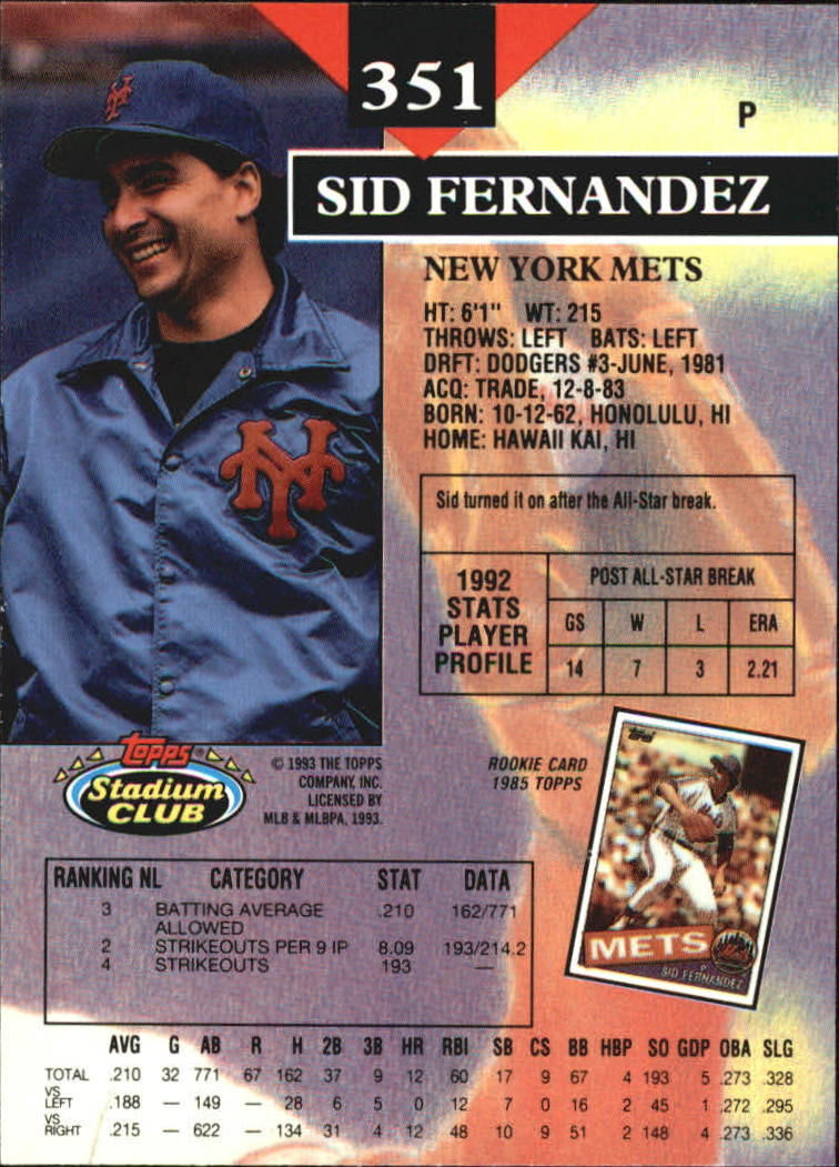 1993 Stadium Club Members Only Parallel #351 Sid Fernandez back image