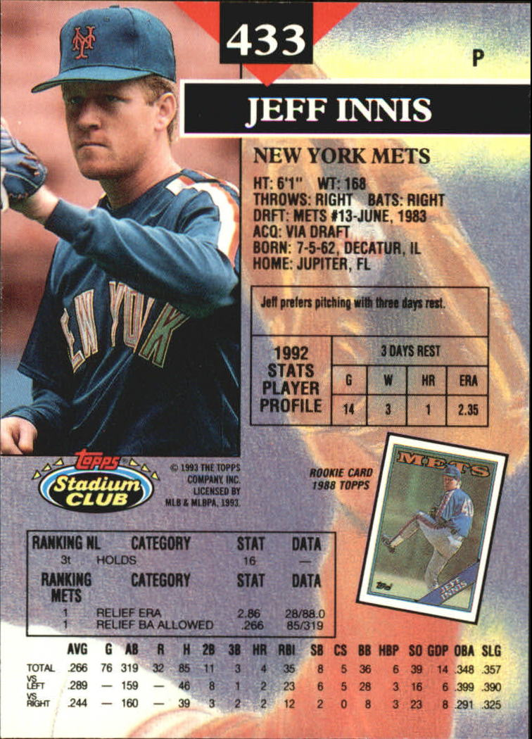 1993 Stadium Club Members Only Parallel #433 Jeff Innis back image