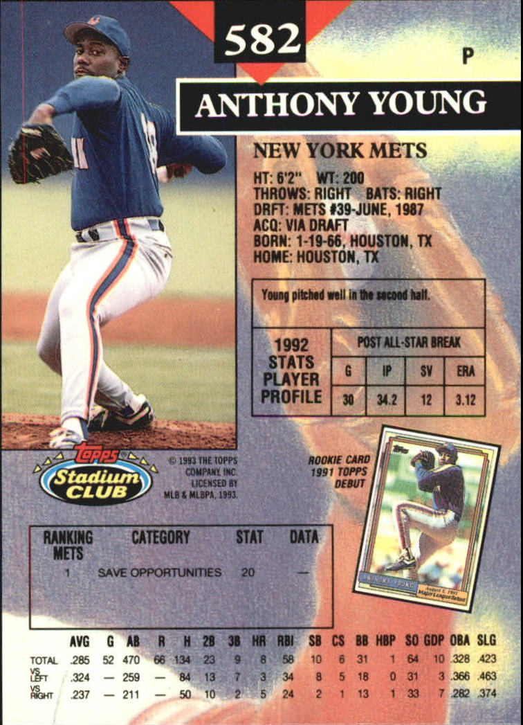 1993 Stadium Club Members Only Parallel #582 Anthony Young back image