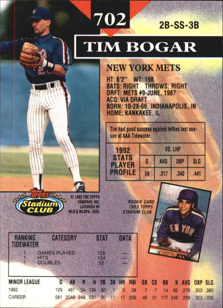 1993 Stadium Club Members Only Parallel #702 Tim Bogar back image