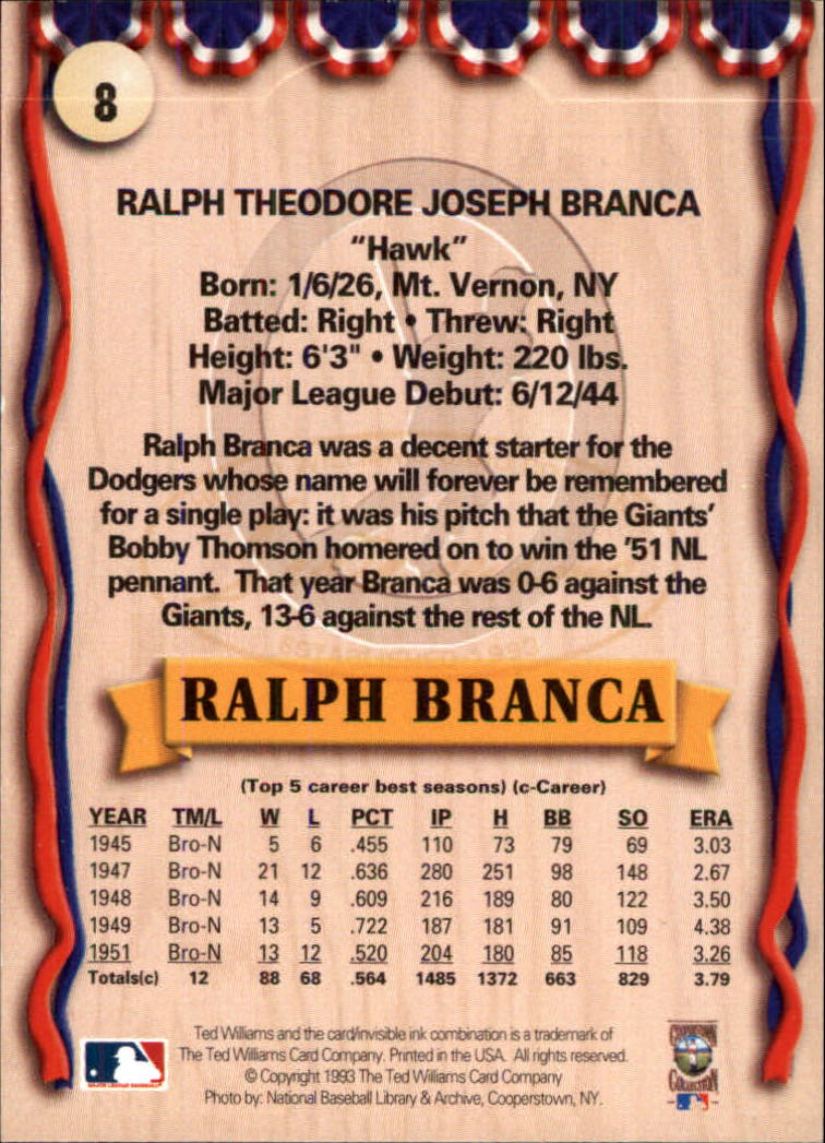 1993 Ted Williams #8 Ralph Branca back image