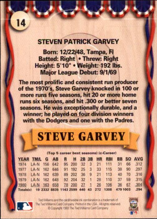 1993 Ted Williams #14 Steve Garvey back image