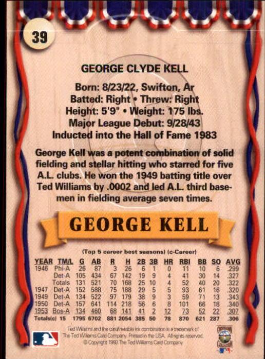 1993 Ted Williams #39 George Kell back image
