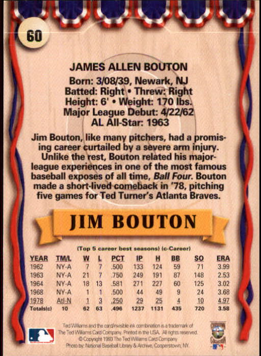 1993 Ted Williams #60 Jim Bouton back image