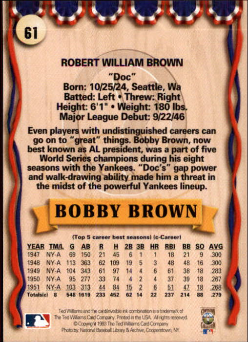 1993 Ted Williams #61 Bobby Brown back image