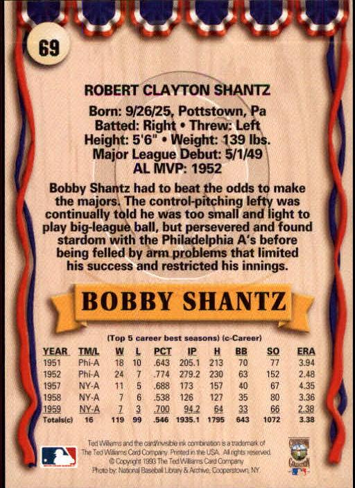 1993 Ted Williams #69 Bobby Shantz back image
