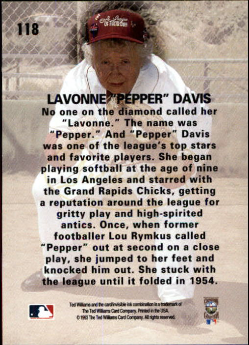 1993 Ted Williams #118 Lavonne(Pepper) Davis back image