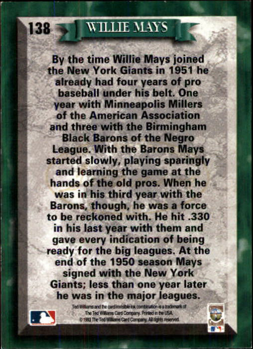 1993 Ted Williams #138 Willie Mays back image