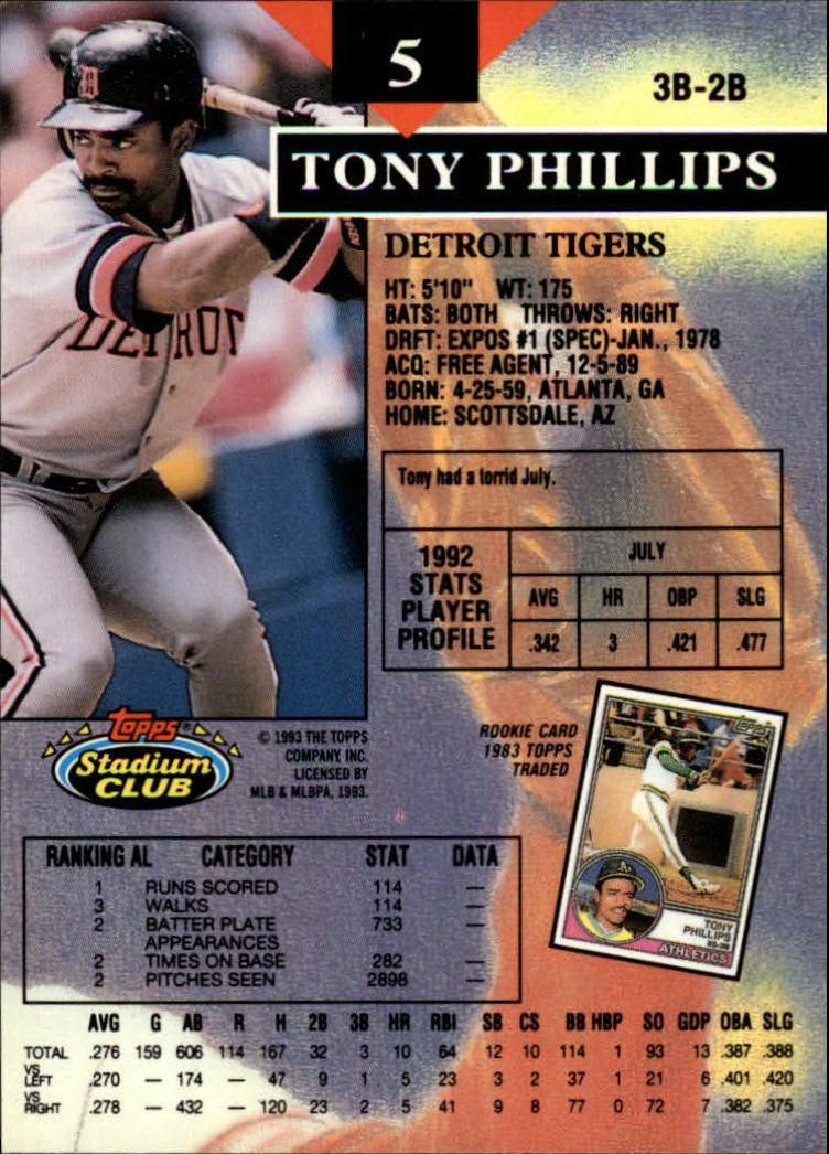 1993 Stadium Club #5 Tony Phillips IF back image