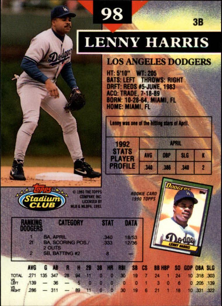 1993 Stadium Club #98 Lenny Harris back image