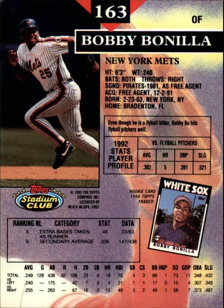 1993 Stadium Club #163 Bobby Bonilla back image