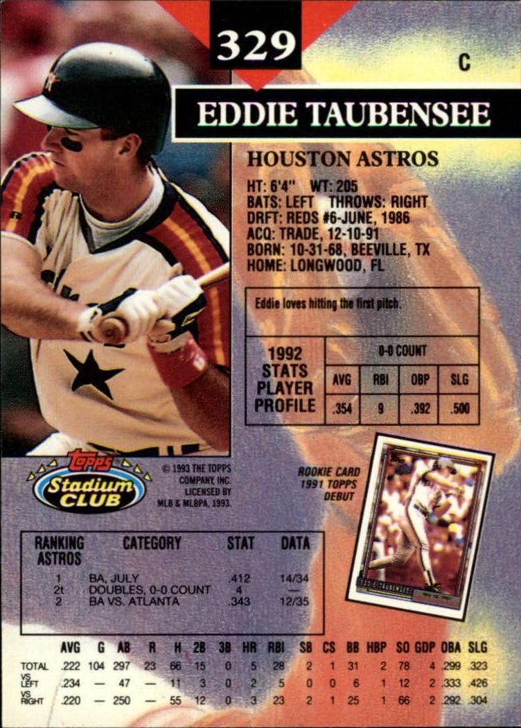 1993 Stadium Club #329 Eddie Taubensee back image