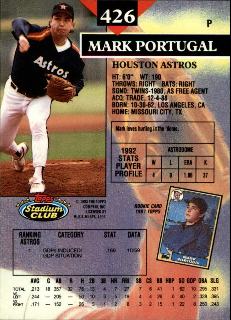 1993 Stadium Club #426 Mark Portugal back image
