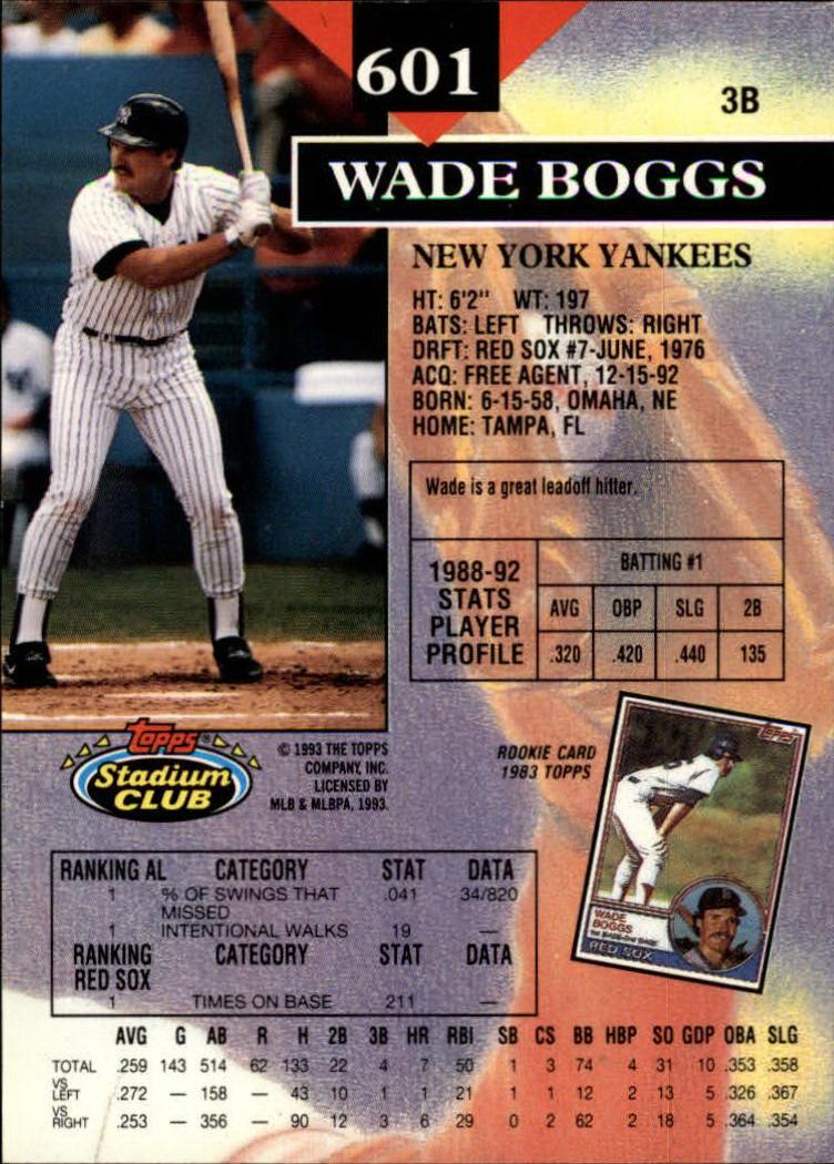 1993 Stadium Club #601 Wade Boggs back image